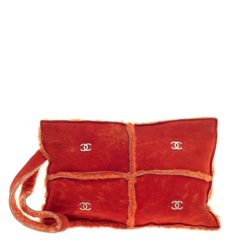 b7080cab784d Buy Chanel CC Logos Wristlet Shearling and Suede Small Orange 353608 – Rebag