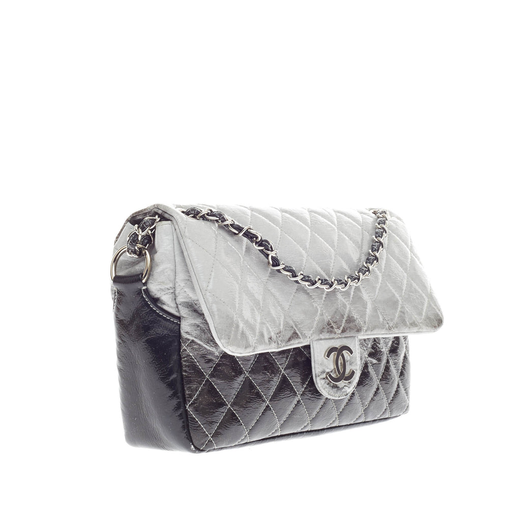 d837906b0230 Buy Chanel Melrose Degrade Flap Bag Quilted Patent Jumbo Gray 181301 ...