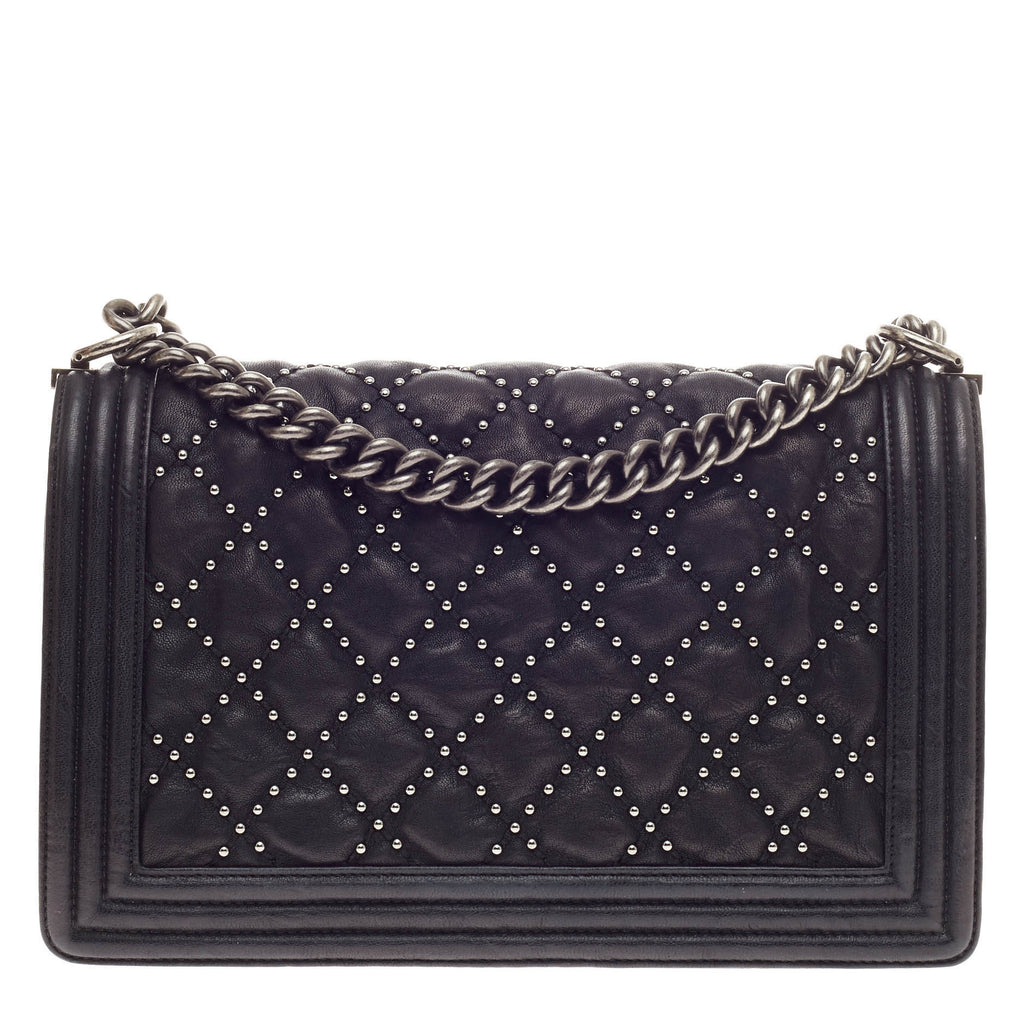 077f61bcfaf7 Buy Chanel Boy Flap Bag Studded Quilted Distressed Calfskin 353606 ...