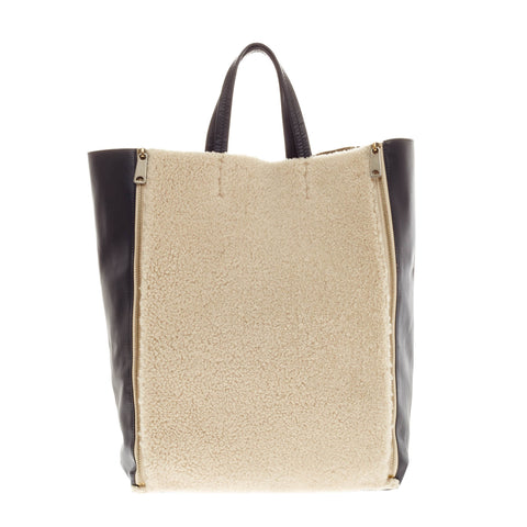Buy Celine Vertical Gusset Cabas Tote Shearling and Leather 86901 – Rebag a09b3901d7552