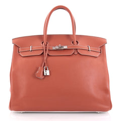 Hermes Eclat Birkin Handbag Clemence with Palladium Hardware 40 Red 1848701