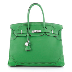 Hermes Birkin Ghillies Handbag Green Togo and Swift with Green 1938902