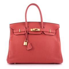Hermes Birkin Handbag Red Togo with Gold Hardware 35 Red 1965402