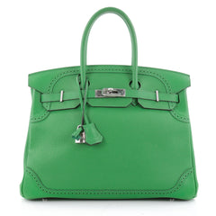 Hermes Birkin Ghillies Handbag Green Togo and Swift with Green 1965404