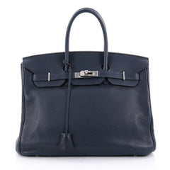 Hermes Birkin Handbag Blue Clemence with Palladium 2096801