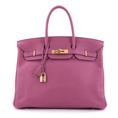 Hermes Birkin Handbag Pink Togo With Gold Hardware 35 Purple 2099401