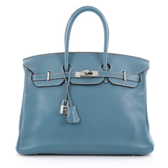 Hermes Birkin Handbag Blue Togo with Palladium Hardware 35 Blue 2194401