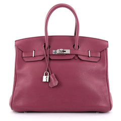 Hermes Birkin Handbag Pink Clemence with Palladium Hardware 35 Purple 2205101