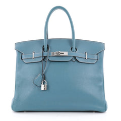Hermes Birkin Handbag Blue Clemence with Palladium Blue 2249704