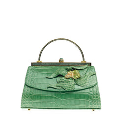 Judith Leiber Floral Frame Bag Alligator with Crystals Small