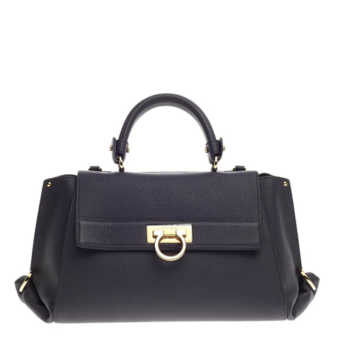 eeca753758 Buy Salvatore Ferragamo Sofia Satchel Pebbled Leather Medium 665201 – Rebag