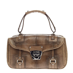 Salvatore Ferragamo Gancini Top Handle Bag Lizard Small