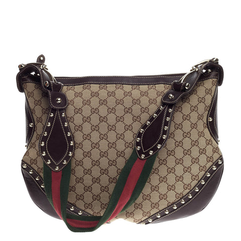 98df6bda7e3a Buy Gucci Pelham Web Hobo Studded GG Canvas Medium Brown 654301 – Rebag