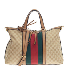 Gucci Rania Convertible Top Handle Web GG Canvas Medium