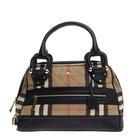 Buy Burberry Manor Bag House Check and Leather Large Brown 675101 – Rebag b61cf06880c3a