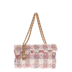 Chanel Vertical Lock Flap Bag Tweed Medium