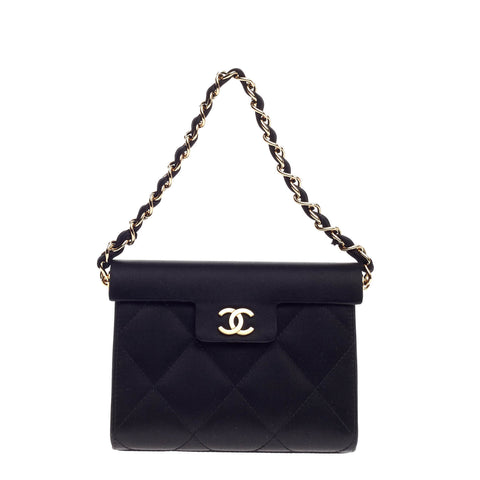 8192d2b09e3f Buy Chanel Vintage Chain CC Evening Bag Quilted Satin Small 690802 – Rebag