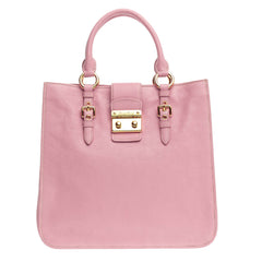 Miu Miu Madras Convertible Lock Tote Leather Medium