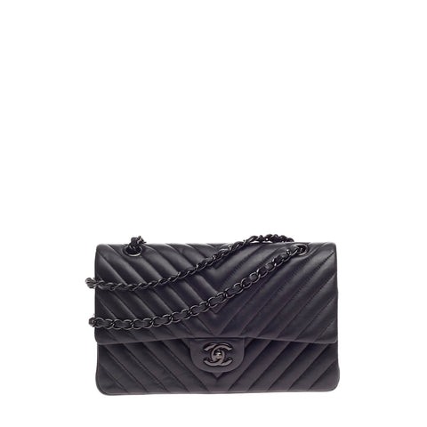 719a5f1e14cf Buy Chanel So Black Classic Double Flap Bag Chevron Lambskin 627501 – Rebag