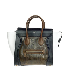 Celine Tricolor Luggage Python and Leather Mini