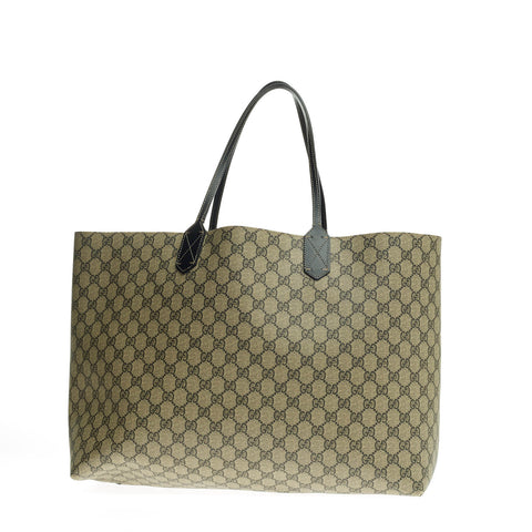 5de1a02a30d03e Buy Gucci Reversible Tote Leather and GG Canvas Large Gray 699103 – Rebag