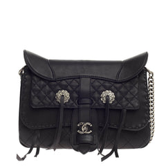 Chanel Paris-Dallas Fringe Flap Saddle Bag Embellished Calfskin