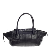 Chanel Lax Satchel Quilted Leather Large