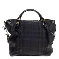 Burberry Ellers Convertible Satchel Beat Check Nylon Large