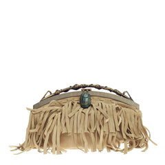 Valentino Beetle Fringe Chain Frame Clutch Suede Small