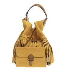 Burberry Belgrove Fringe Bucket Bag Suede and House Check Canvas Large