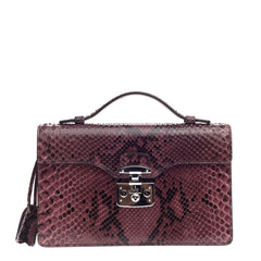 Gucci Lady Lock Briefcase Clutch Python