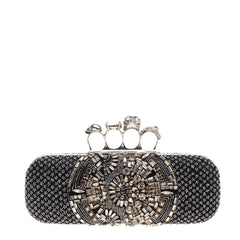 Alexander McQueen Knuckle Box Clutch Crystal Embellished Satin Long