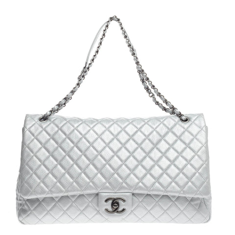 6fb84e7ed892 Buy Chanel Airlines CC Flap Bag Quilted Calfskin XXL Silver 750501 – Rebag