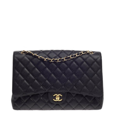 Chanel Classic Double Flap Quilted Caviar Maxi
