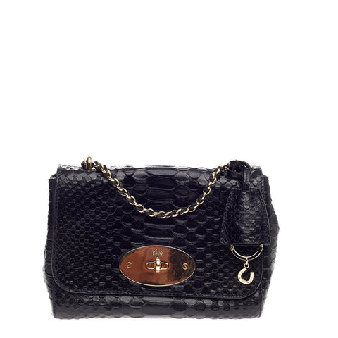2f59010efb Buy Mulberry Lily Chain Flap Bag Python Embossed Leather 784001 – Rebag