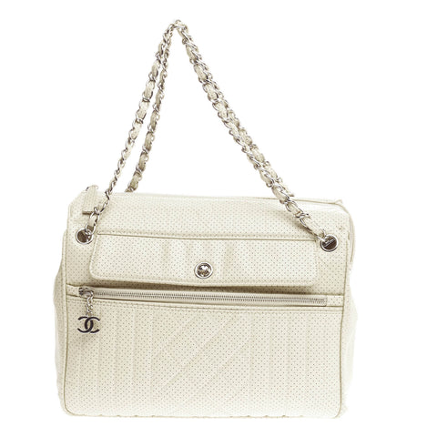 1851f8fba825 Buy Chanel 50's Tote Quilted Perforated Leather Large White 796901 – Rebag
