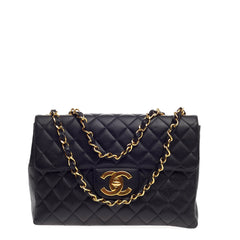 Chanel Vintage Classic Single Flap Quilted Caviar Maxi