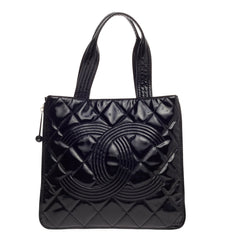 Chanel Expandable CC Shopping Tote Quilted Patent Medium