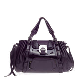 Versace Pleated Flap Satchel Patent Medium
