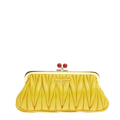 Miu Miu Kisslock Clutch Matelasse Leather