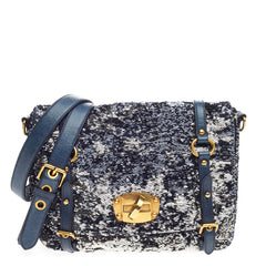 Miu Miu Flap Belted Messenger Sequin Embellished Leather Small