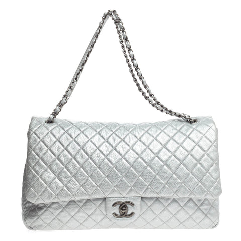 d130447764b5 Buy Chanel Airlines CC Flap Bag Quilted Calfskin XXL Silver 807601 – Rebag