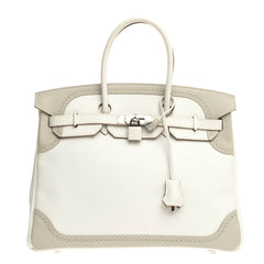 Hermes Birkin Ghillies White and Gray Swift with Palladium Hardware 35