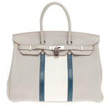 Hermes Club Birkin Gris Perle, Mykonos, and White Clemence and Lizard 35
