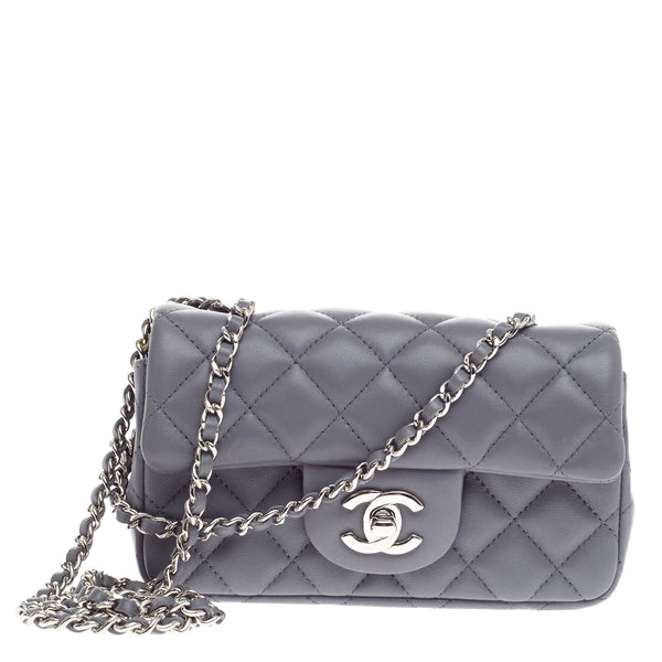 9219b5905c24 Buy Chanel Classic Single Flap Bag Lambskin Extra Mini Blue 304603 – Rebag