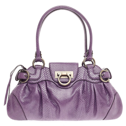 Buy Salvatore Ferragamo Marisa Satchel Lizard Small Purple 416902 – Rebag 37b9d3cfbe