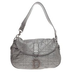 Christian Dior Flap Hobo Cannage Quilt Leather Medium