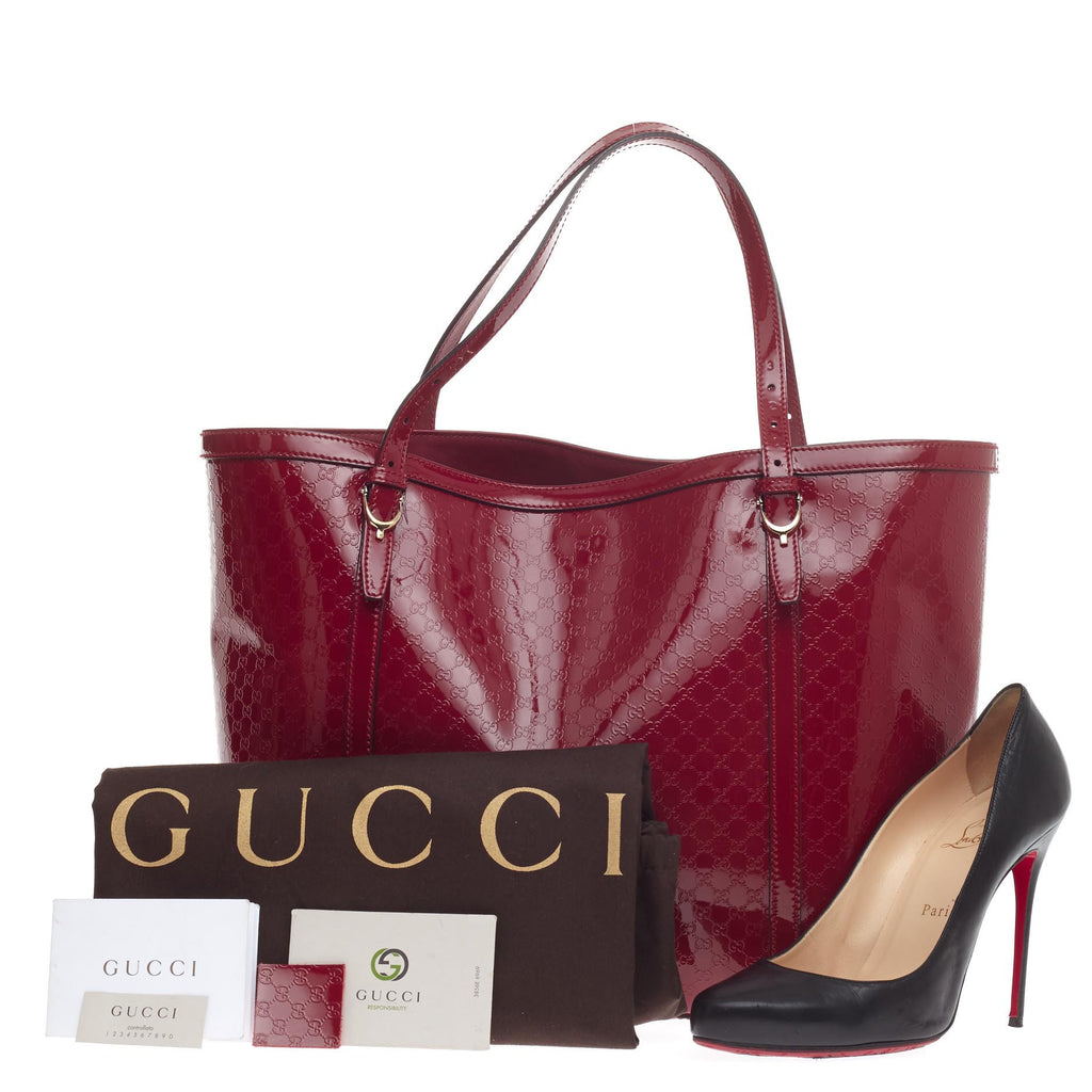 7870768b8146e0 Buy Gucci Nice Tote Patent Microguccissima Leather Red 452401 – Rebag