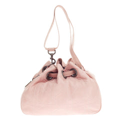 Christian Dior Drawstring Bucket Cannage Quilt Leather Medium