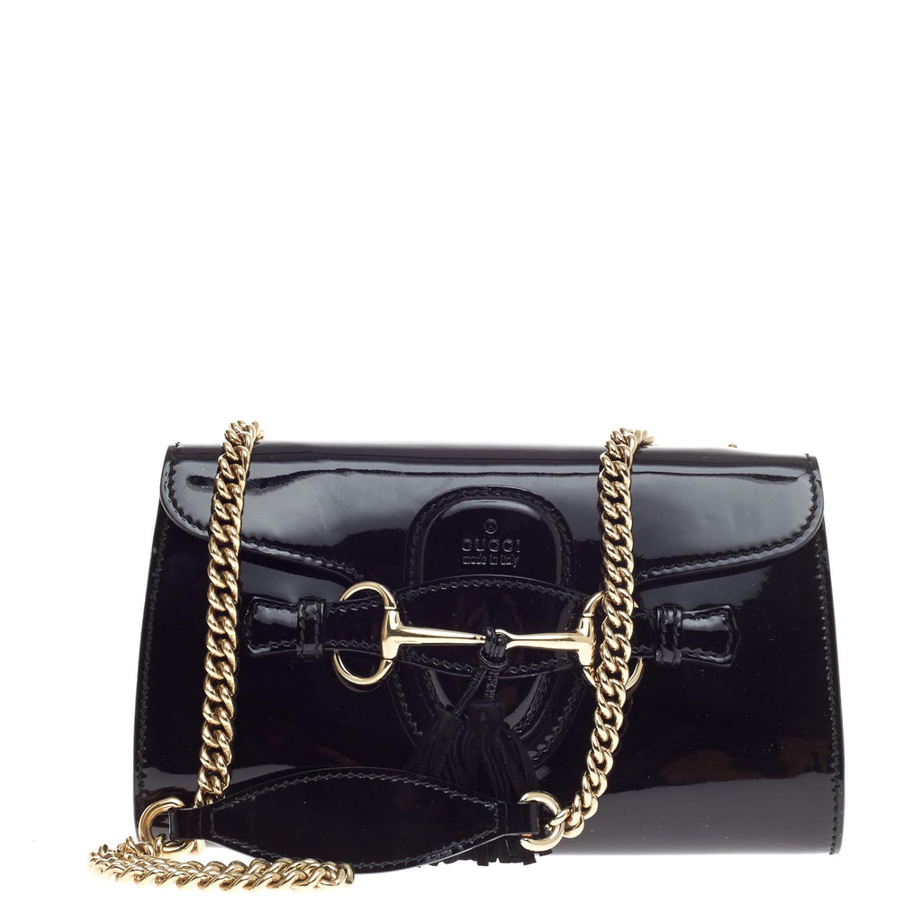 cfd4dcf0f6faf1 Buy Gucci Emily Chain Strap Flap Bag Patent Small Black 490701 – Rebag